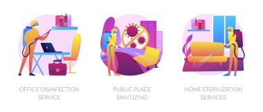 Virus protection abstract concept vector illustration set. Office disinfection service, public place sanitizing, home sterilization, clean workspace, personal protection, chemical abstract metaphor. icon
