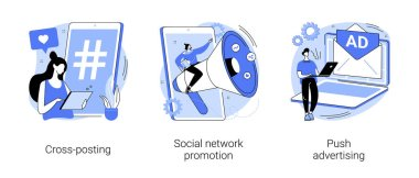 Media promotion abstract concept vector illustration set. Social network promotion, cross-posting, push advertising, comment and like, digital marketing, smm and post sharing abstract metaphor. icon