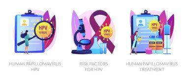 Virus diagnostic, infected cells analyzing. Human papillomavirus HPV, risk factors for HPV, human papillomavirus treatment metaphors. Vector isolated concept metaphor illustrations. icon