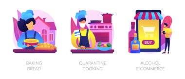 Homemade food and delivery abstract concept vector illustration set. Baking bread, quarantine cooking, alcohol e-commerce, family recipe, baking yeast, online grocery and wine abstract metaphor. icon