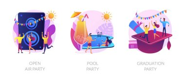 Outdoor music festival, tropical summer recreation, school graduation celebration icons set. Open air party, pool party, prom party metaphors. Vector isolated concept metaphor illustrations icon
