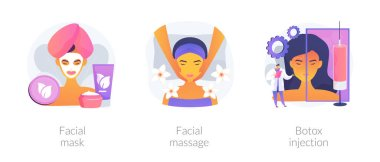 Beauty procedure abstract concept vector illustration set. Facial mask and massage, botox injection, hyaluronic filler and collagen, woman face lifting, anti age, aesthetic medicine abstract metaphor. icon