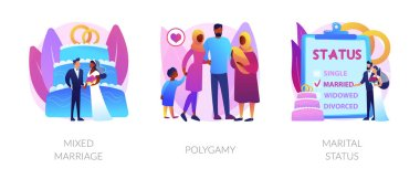 Legal status abstract concept vector illustration set. Mixed marriage, polygamy, marital status, multiracial family, persons relationship, different races and religions, wedding abstract metaphor. icon