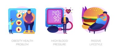 Overweight issue, heart disease treatment, unhealthy pastime icons set. Obesity health problem, high blood pressure, passive lifestyle metaphors. Vector isolated concept metaphor illustrations icon