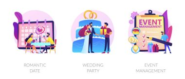 Love and romance, marriage ceremony, professional event planning service icons set. Romantic date, wedding party, event management metaphors. Vector isolated concept metaphor illustrations icon