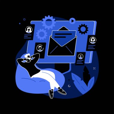 Marketing automation system abstract concept vector illustration. Open source automation, crm system, marketing software, automated advertise message, online platform dashboard dark mode metaphor. icon