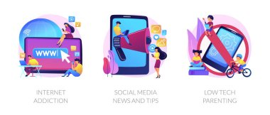 Spending time online, non-parting with gadget, keeping in touch. Internet addiction, social media news and tips, low tech parenting metaphors. Vector isolated concept metaphor illustrations. icon