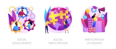 Social engagement metaphors. Participation in society, community involvement, social group. Participation of women. Norms of behaviour abstract concept vector illustration set. icon