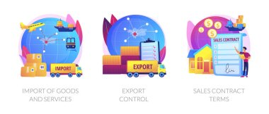 Global trade, distribution and logistics metaphors. Goods and services import, export control, sales contract terms. Maritime, air and land shipment abstract concept vector illustration set. icon