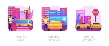 Driving license abstract concept vector illustration set. Traffic laws, driving lessons, traffic accident, road safety, violation fine, certified instructor, car crash investigation abstract metaphor. icon
