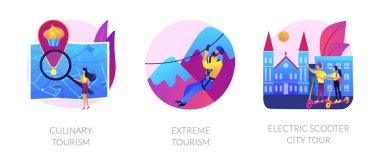 Adventure touristic activities, recreation, broadening horizons. Culinary tourism, extreme tourism, electric scooter city tour metaphors. Vector isolated concept metaphor illustrations. icon