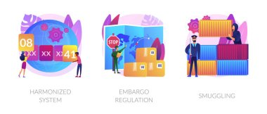 Trading goods limitations, customs control, export and import prohibition, contraband. Harmonized system, embargo regulation, smuggling metaphors. Vector isolated concept metaphor illustrations. icon
