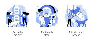 Pet ownership abstract concept vector illustration set. Pet in the big city, dog friendly place, animal control service, walking place, rescue service, stray dogs and cats abstract metaphor. icon