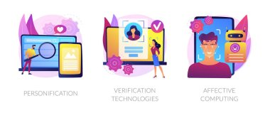 Data access and user experience abstract concept vector illustration set. Personification, verification technologies, affective computing, user password, social media account abstract metaphor. icon