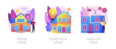 Innovative private construction technologies abstract concept vector illustration set. Passive and energy-plus house, modular home, heating efficiency, reducing ecological footprint abstract metaphor. icon