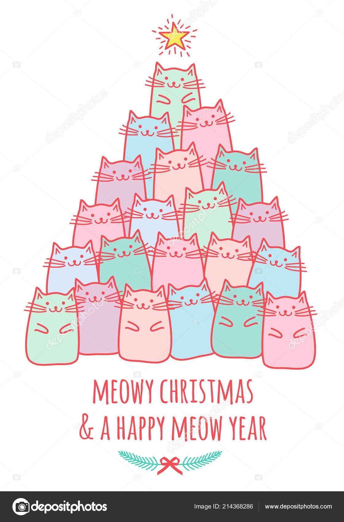 Carte Noël Avec Dessin Doodle Mignon Kawaii Chats Meowy Noël