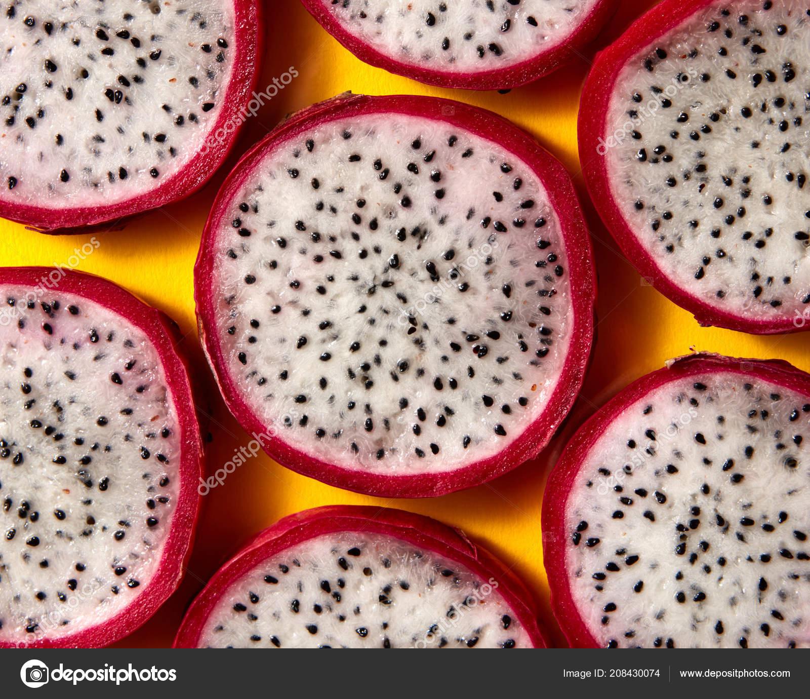 Patron Tropical Exotico Corte Rodajas Fruta Del Dragon Pitaya Foto