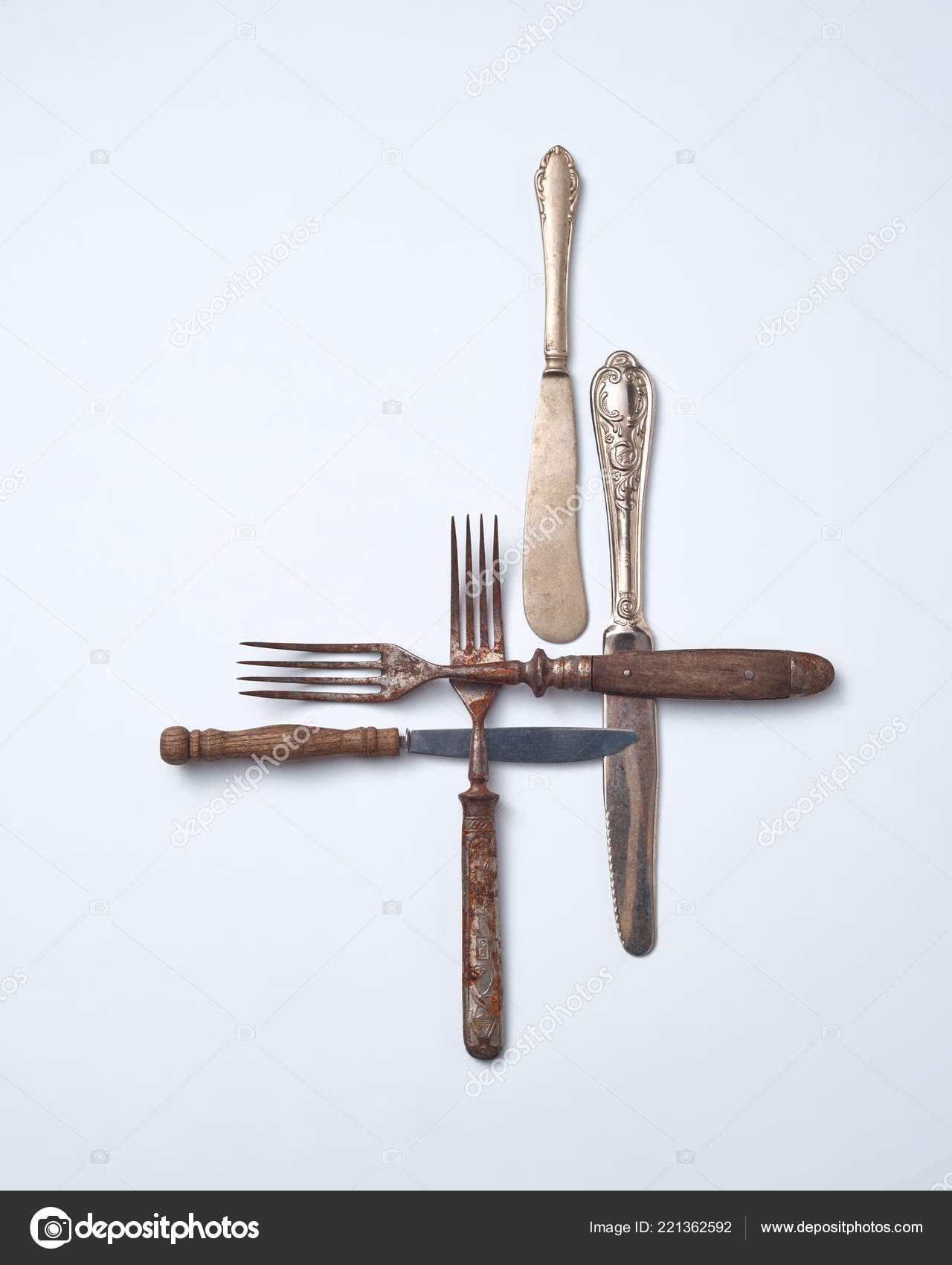 Collection Old Metal Wooden Handle Forks Knives Gray