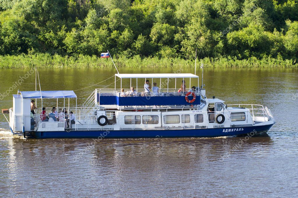 Tyumen, Russia, on July 16, 2018: The Admiral motor ship floats with passengers down the river