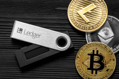 UKRAINE, ROVNO - ON JANUARY 23: Ledger hardware wallet for cryptocurrency on a wood background