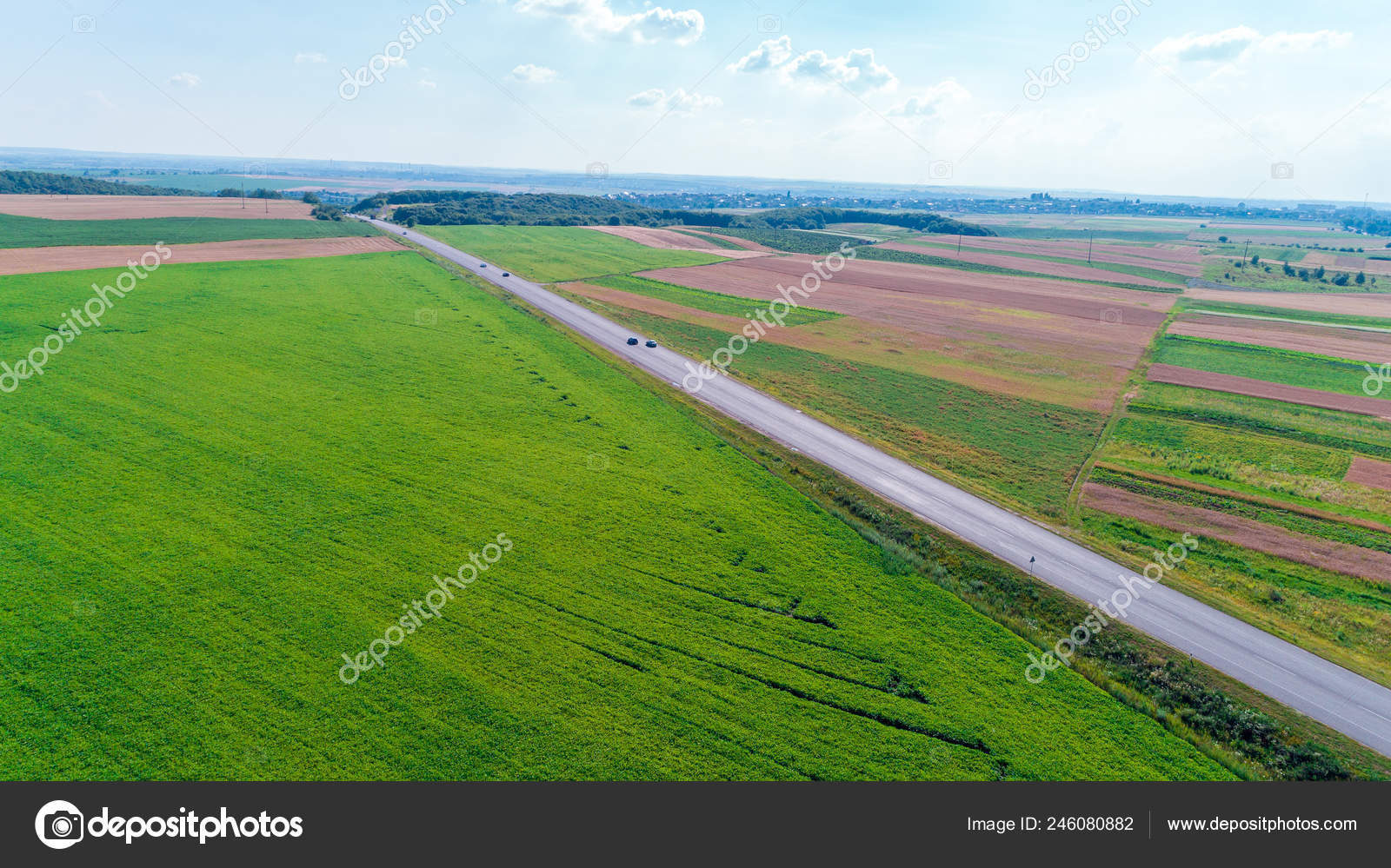 Aerial Shot Car Road Drone Point View Stock Photo C Ivantsov 246080882
