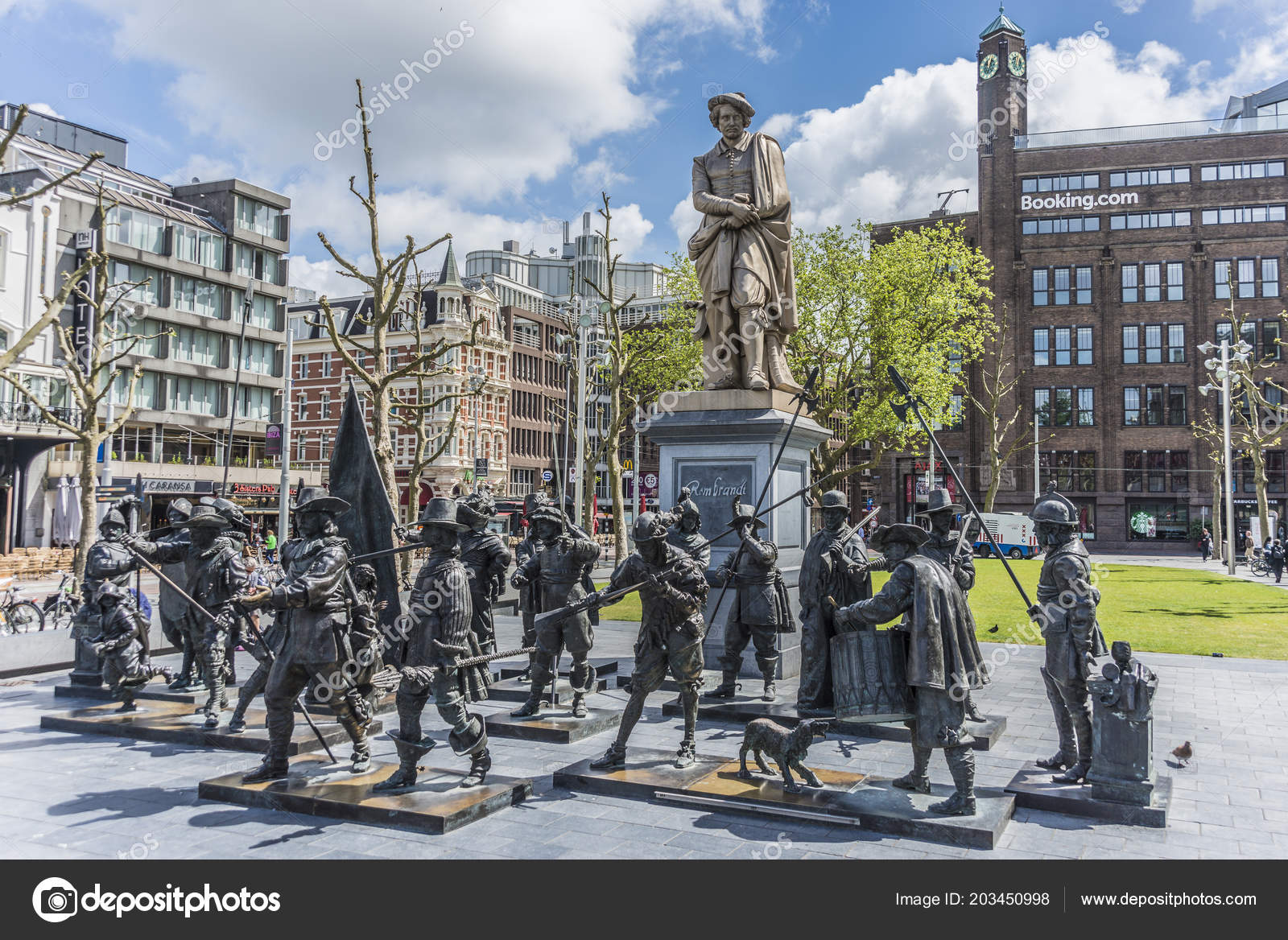 Amsterdam Netherlands June 2013 Rembrandt Statue Rembrandtplein