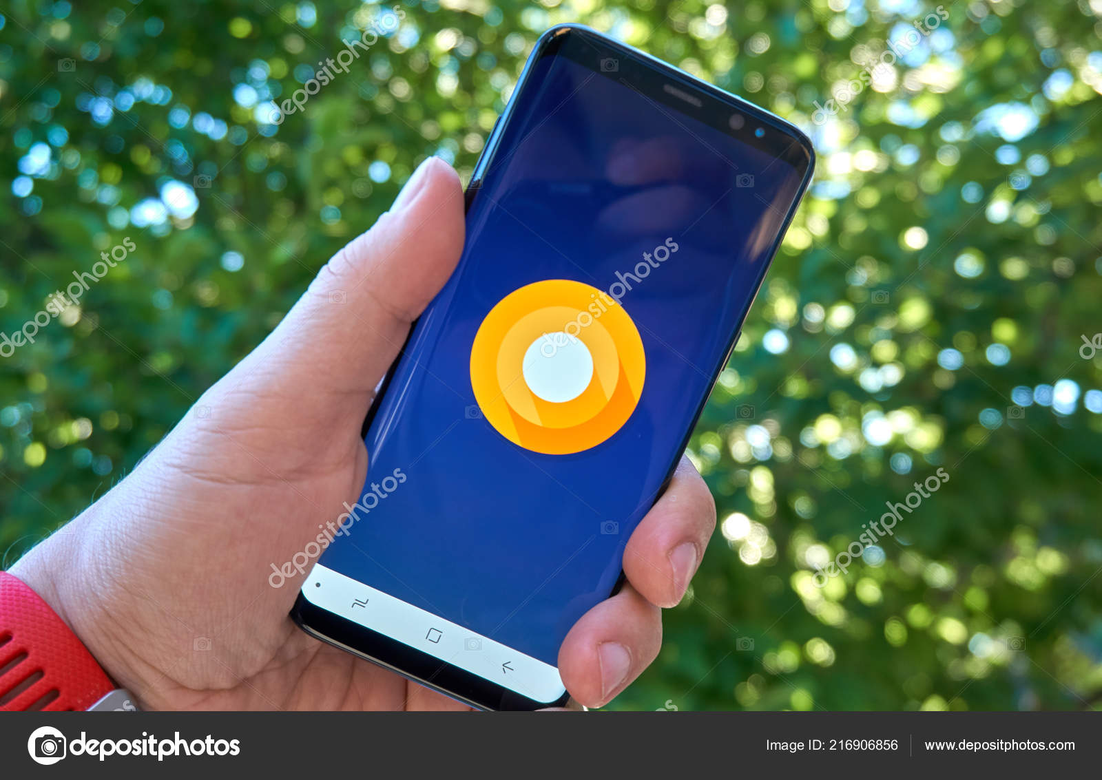 Montreal Canada August 2018 Android Oreo Samsung Logo Screen Hand