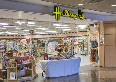 MONTREAL, CANADA - SEPTEMBER 8, 2018: Hallmark storefront in Montreal. Hallmark is the oldest and largest manufacturer of greeting cards company based in USA.