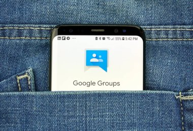MONTREAL, CANADA - OCTOBER 4, 2018: Google Groups app on s8 screen. Google is an American technology company which provides a variety of internet services.