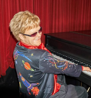 MONTREAL, CANADA - SEPTEMBER 23, 2018: Sir Elton Hercules John, English singer, pianist, and composer. Wax museum Grevin in Montreal, Quebec, Canada