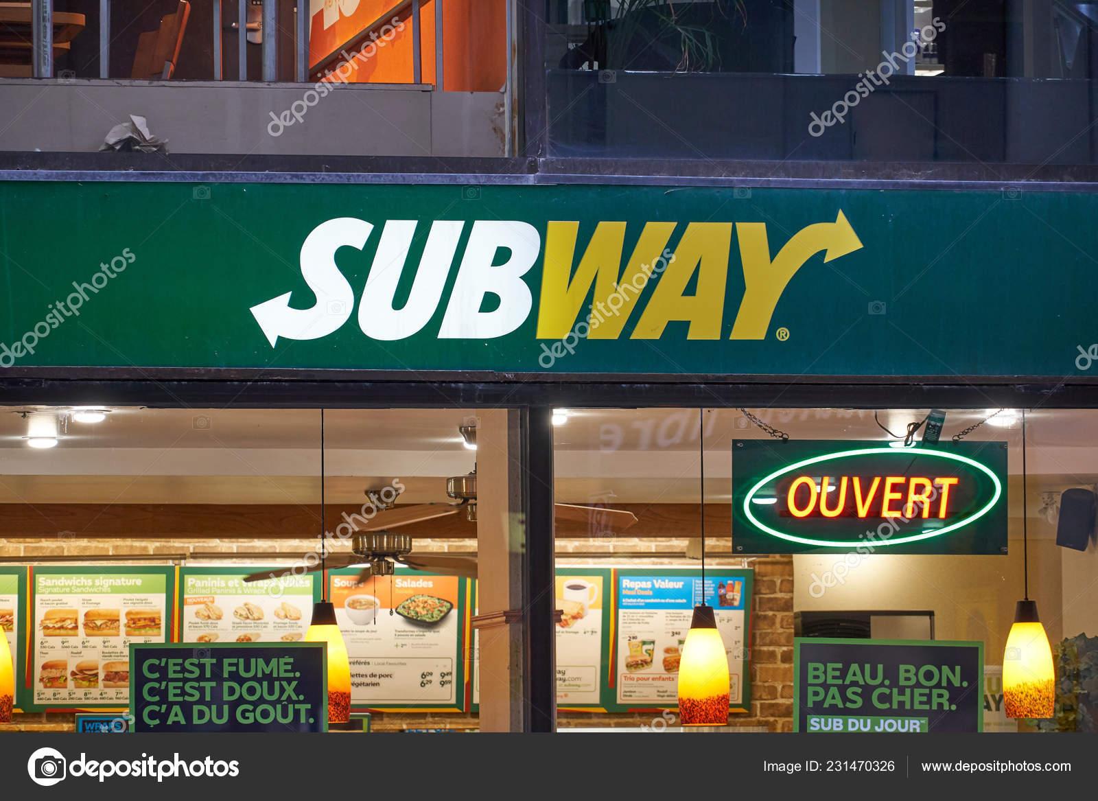 Montreal Canada October 2018 Subway Fast Food Restaurant