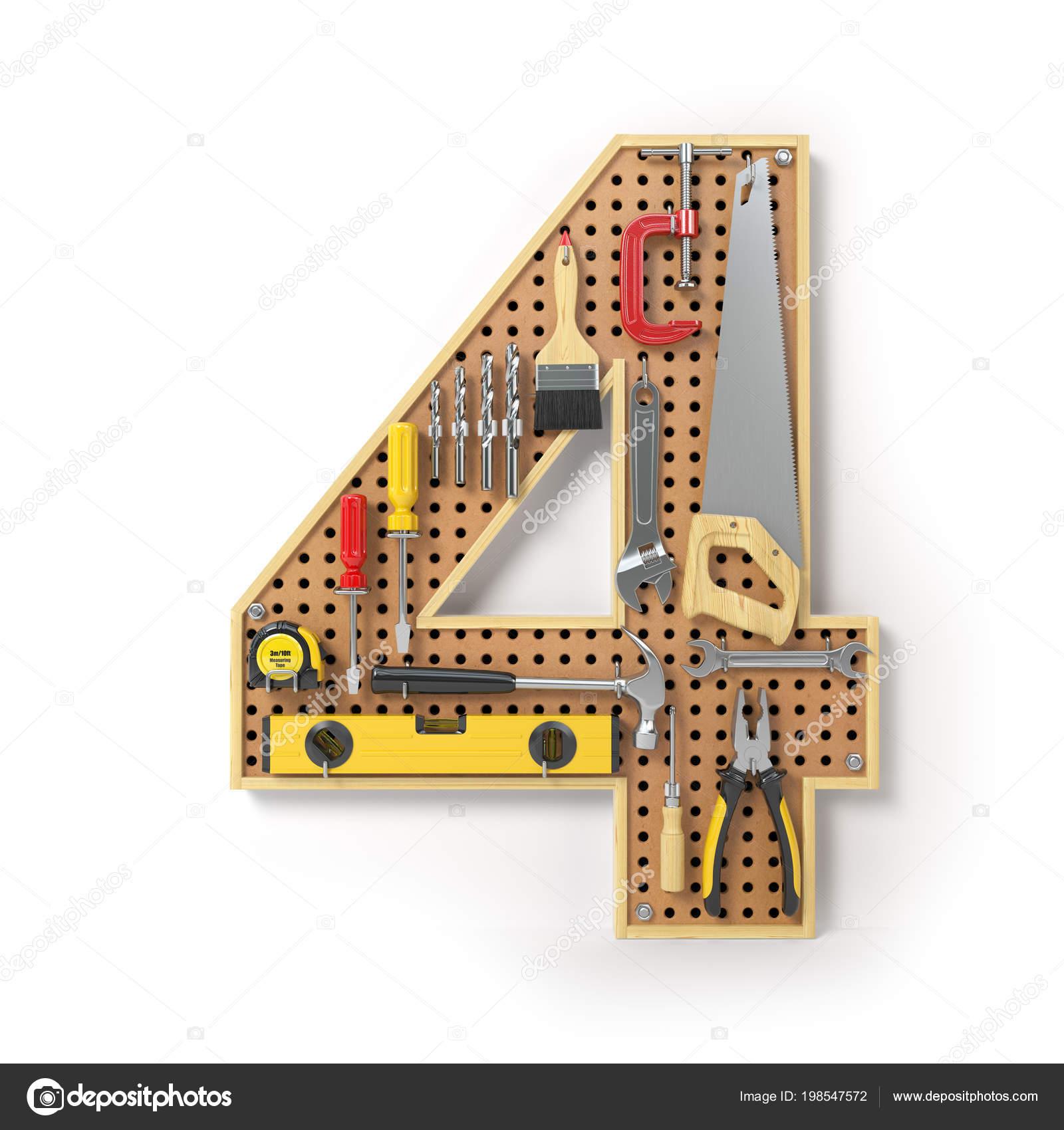 Número Cuatro Alfabeto Las Herramientas Pegboard Metal Aislado ...