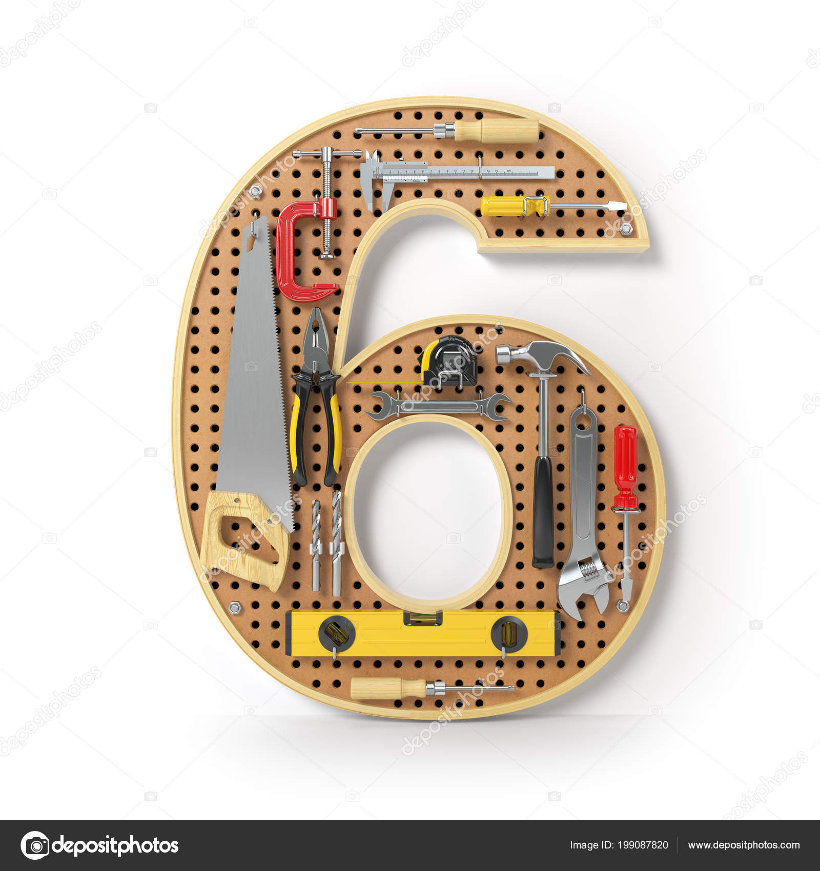 Número Seis Alfabeto Las Herramientas Pegboard Metal Aislado Blanco ...