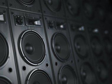 Multimedia  acoustic sound speaker system. Music  concept background. 3d illustration
