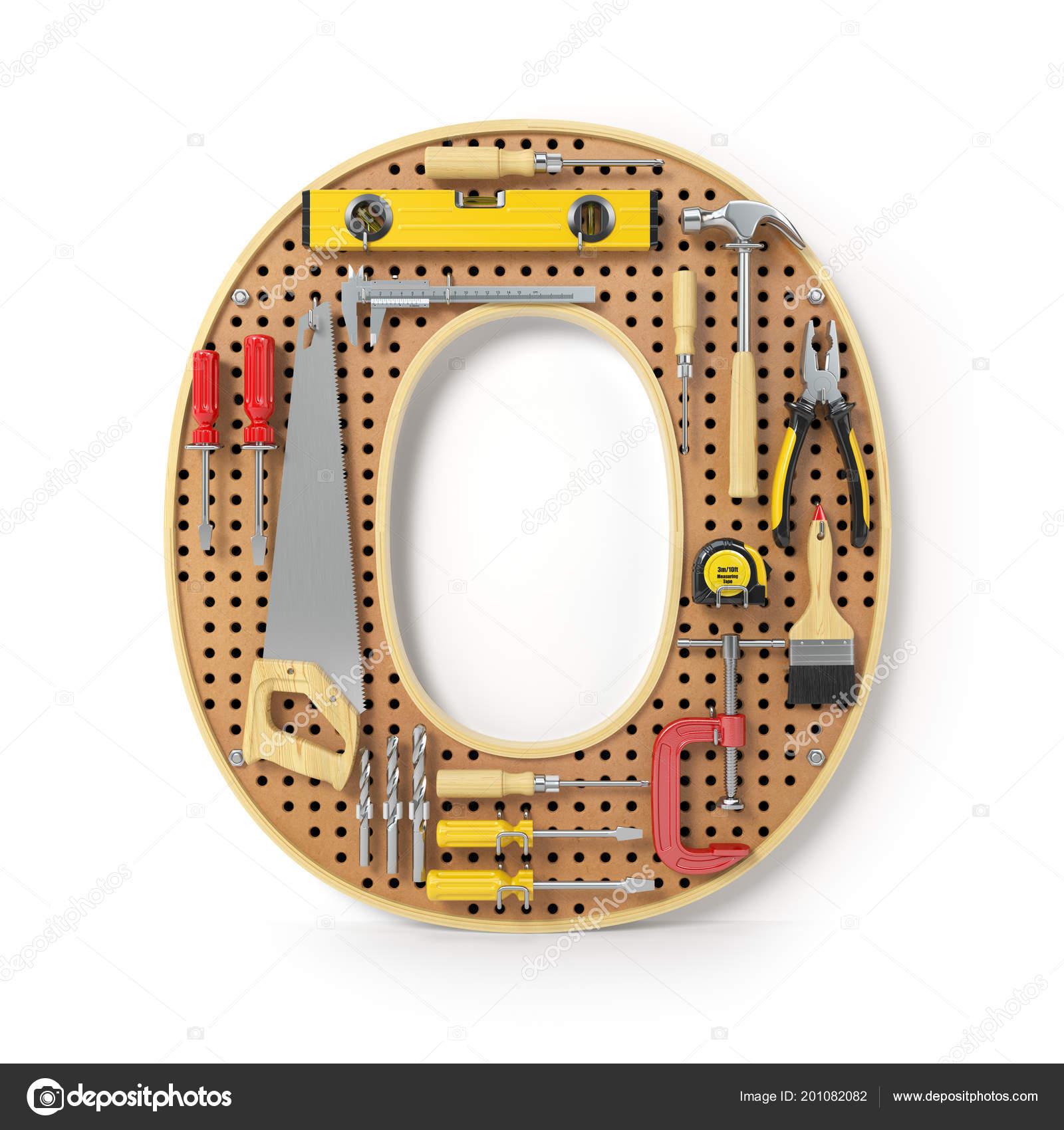 Alfabeto Letra Las Herramientas Pegboard Metal Aislado Blanco ...