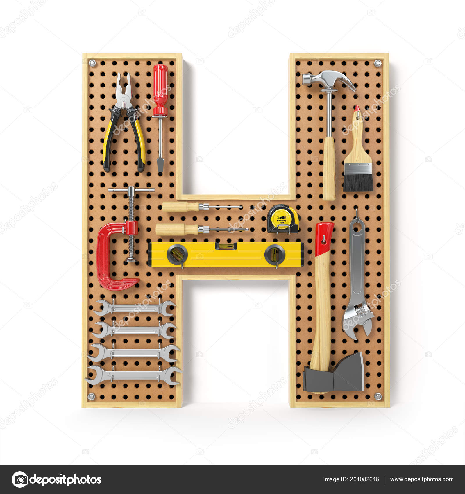 Letter Alphabet Tools Metal Pegboard Isolated White Illustration ...