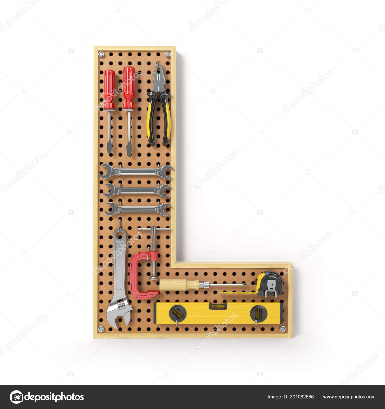 Alfabeto Letras Las Herramientas Pegboard Metal Aislado Blanco ...