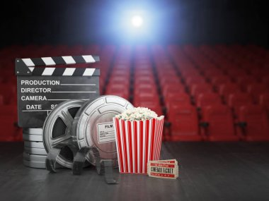 Cinema, movie or home video concept background. Film reels, clapper board  and pop corn in the theater movie cinema screen with empty seats. 3d illustration stock vector