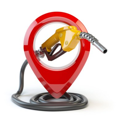 Gas station icon  isolated on white background. Pin with gas nozzle. 3d illustration