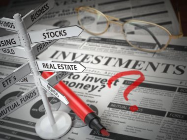 Investmmente and asset allocation concept. Where to Invest? Newspaper and direction sign with investment options. 3d illustration