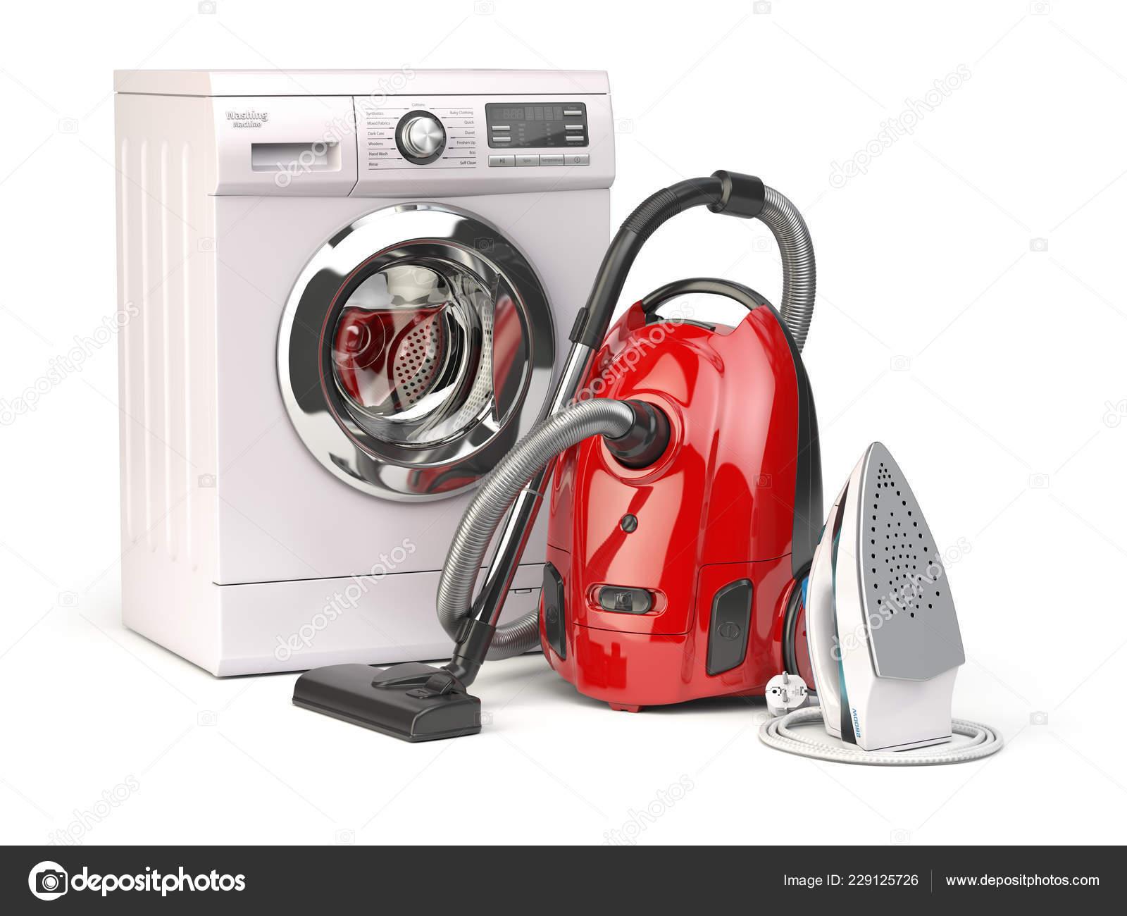 Οικιακές Συσκευές Ομάδα Ηλεκτρική Σκούπα Σίδερο Και Πλυντήριο Ρούχων Που —  Φωτογραφία Αρχείου dce64cf33c9