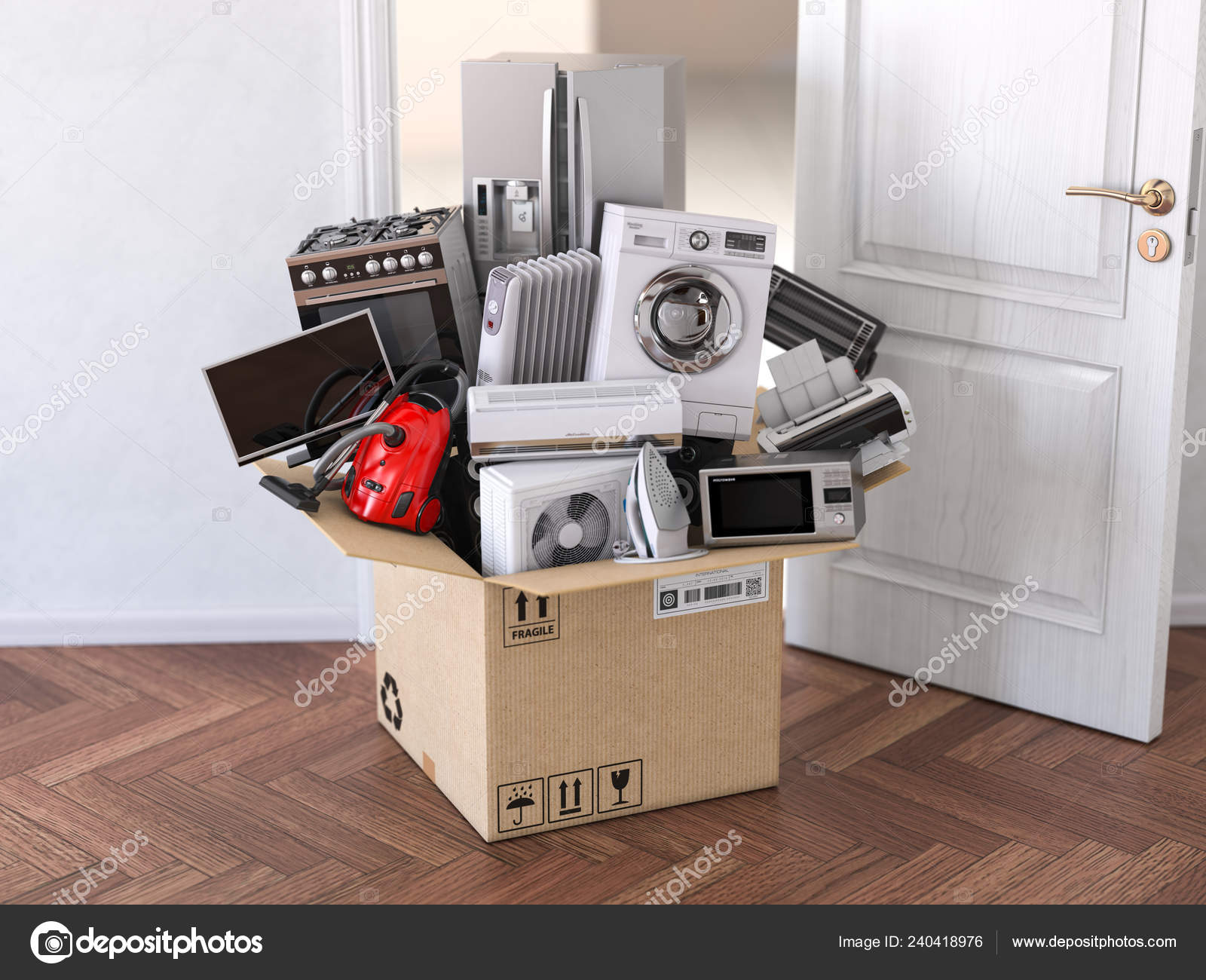 Delivery Moving Online Shopping Concept Home Household ...