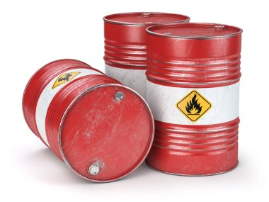 Red metal oil barrels isolated on white background. Oil, gas and petroleum industry and manufacturing. 3d illustration