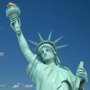 Statue of Liberty in New York City, USA  on the sky background. 3d illustration