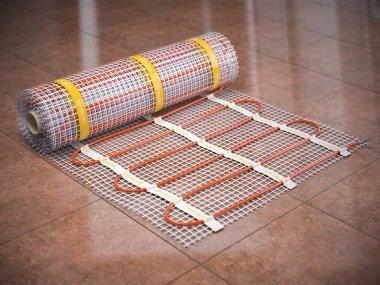 Mat electric floor heating system on kitchen tile Heated warm floor. Underfloor heating. 3d illustration stock vector
