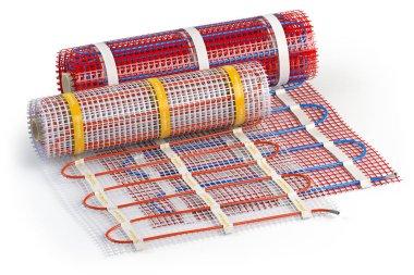 Mat electric floor heating system isolated on white. Heated warm floor. Underfloor heating. 3d illustration stock vector