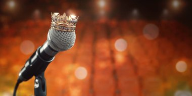 Microphone and king crown. Music award, concert of best singer,