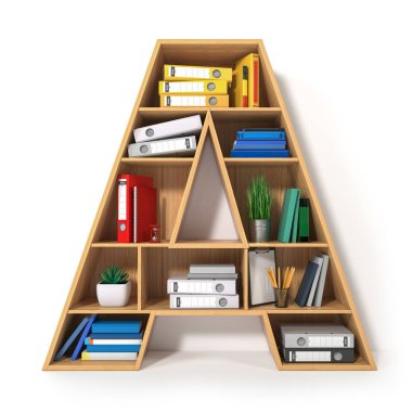 Letter A. Alphabet in the form of shelves with file folder, bind