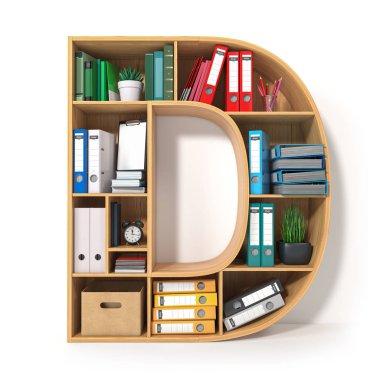 Letter D. Alphabet in the form of shelves with file folder, bind