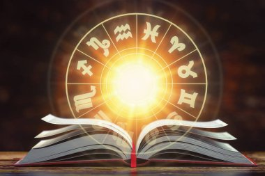 Astrology horoscope concept. Opened  book with magic zodiac sign
